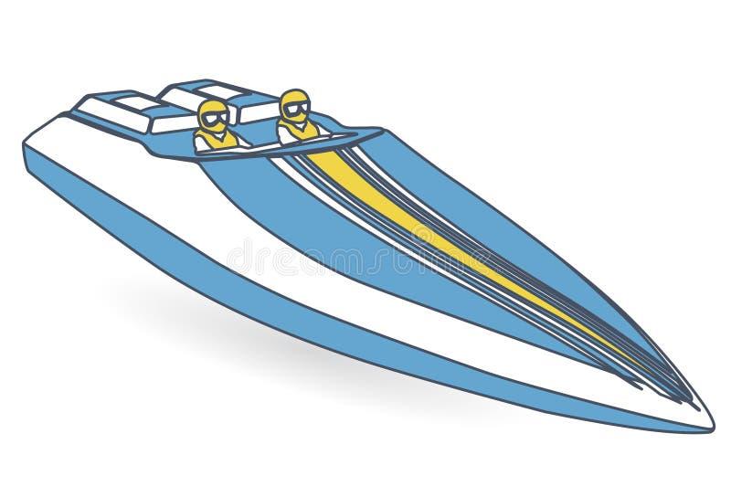 种族炫耀小船 被概述的蓝色黄色汽艇,豪华快艇 皇族释放例证
