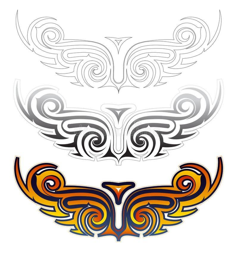 种族翼纹身花刺集合 库存例证