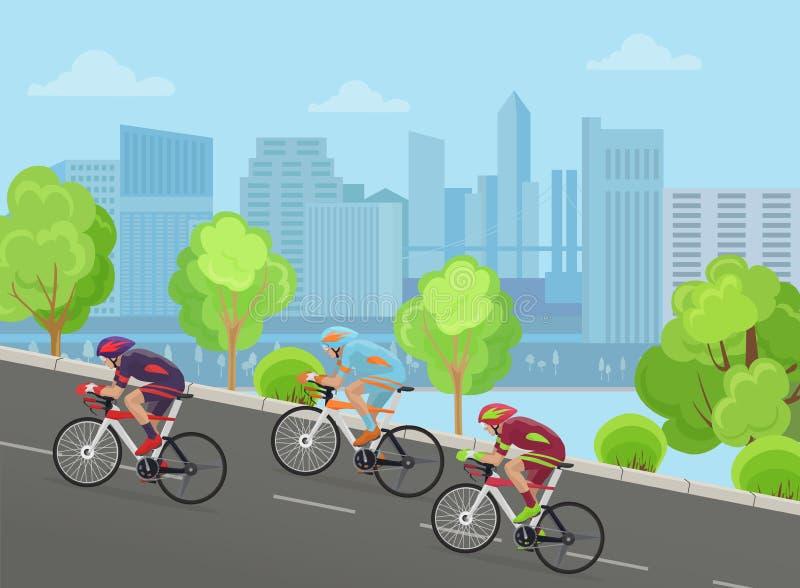 种族自行车乘驾的骑自行车者人在城市公园概念的路 库存例证