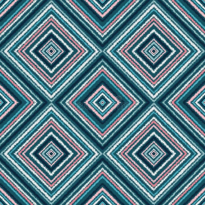 种族菱形蓝色部族无缝的样式 皇族释放例证