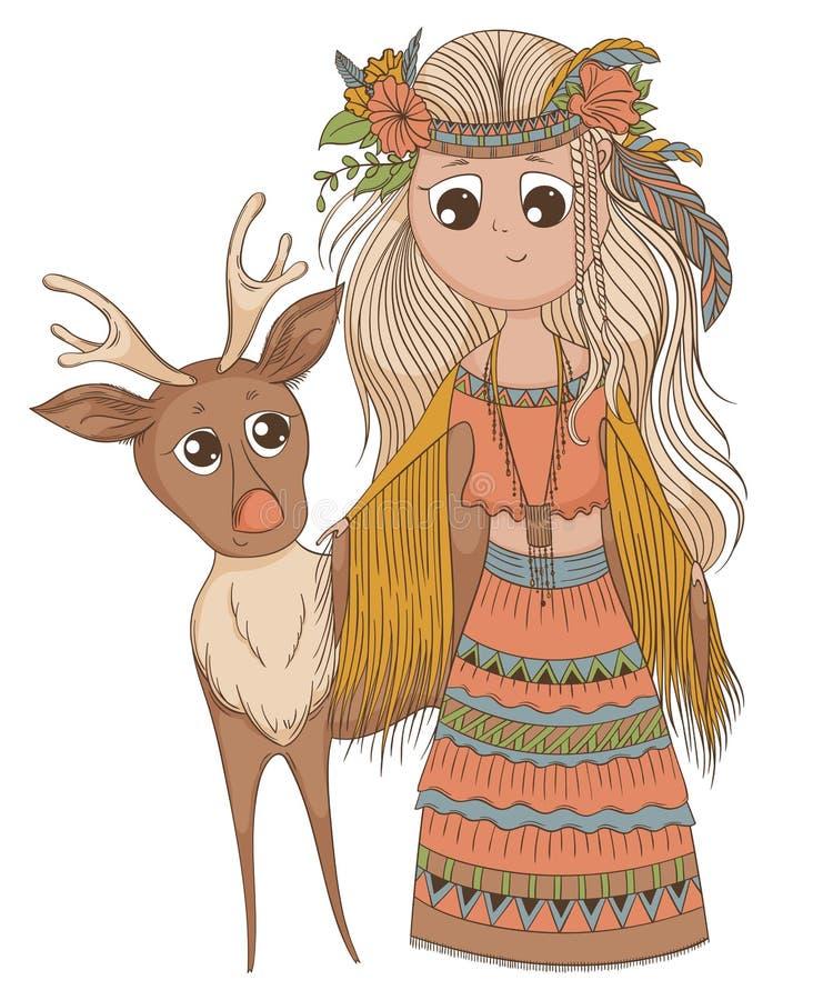 种族衣裳的逗人喜爱的芳香树脂女孩有鹿的 在boho样式的漫画人物 向量例证