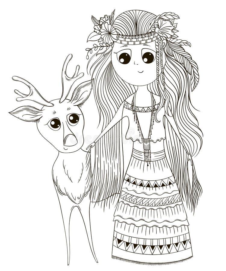 种族衣裳的逗人喜爱的芳香树脂女孩有鹿的 背景漫画人物厚颜无耻的逗人喜爱的狗愉快的题头查出微笑白色 库存例证