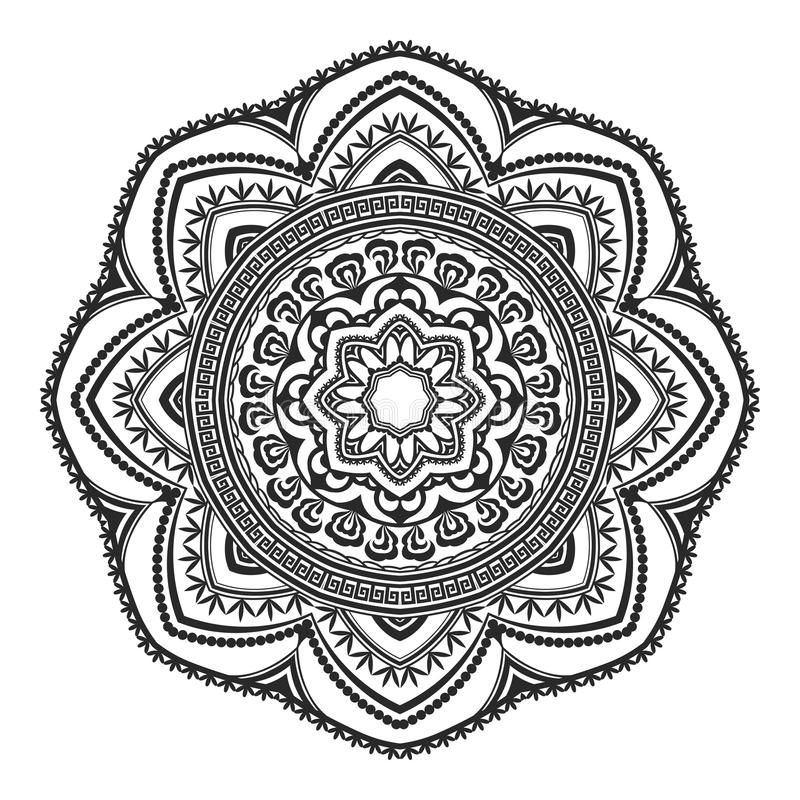 种族装饰元素手拉的坛场黑白,为上色页 Orienta主题 库存例证