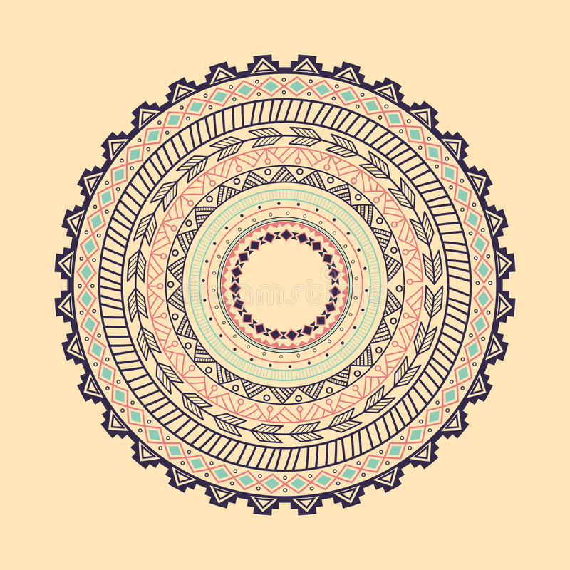 种族阿兹台克圈子装饰品 库存例证