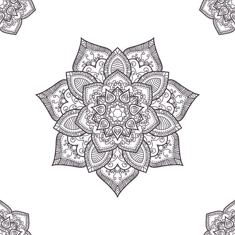 种族boho无缝样式,上色页模板 传染媒介il 免版税图库摄影