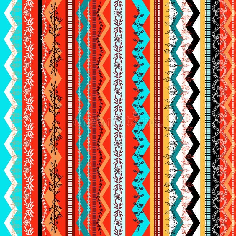 种族boho无缝的样式 五颜六色的边界背景纹理 皇族释放例证
