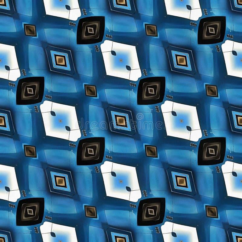 种族Ikat抽象五颜六色的几何样式白色黄色红色蓝色背景 皇族释放例证