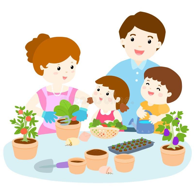 种植健康有机菜动画片的家庭 皇族释放例证