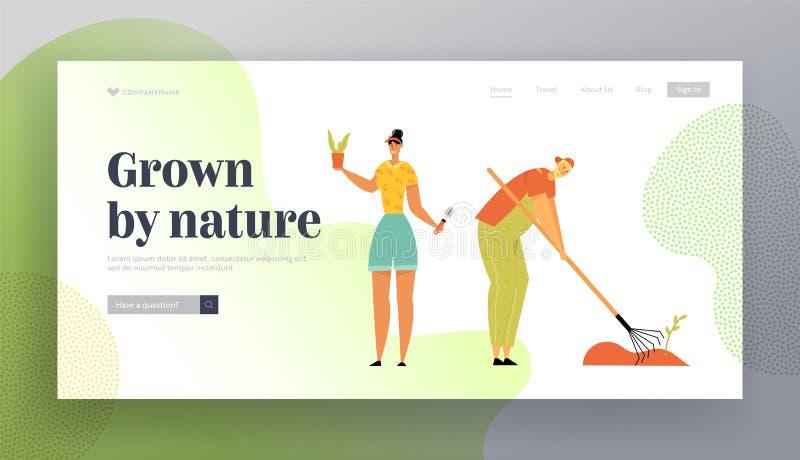 种植和关心植物的男人和妇女花匠除草庭院床 在农场的农夫增长的菜 皇族释放例证