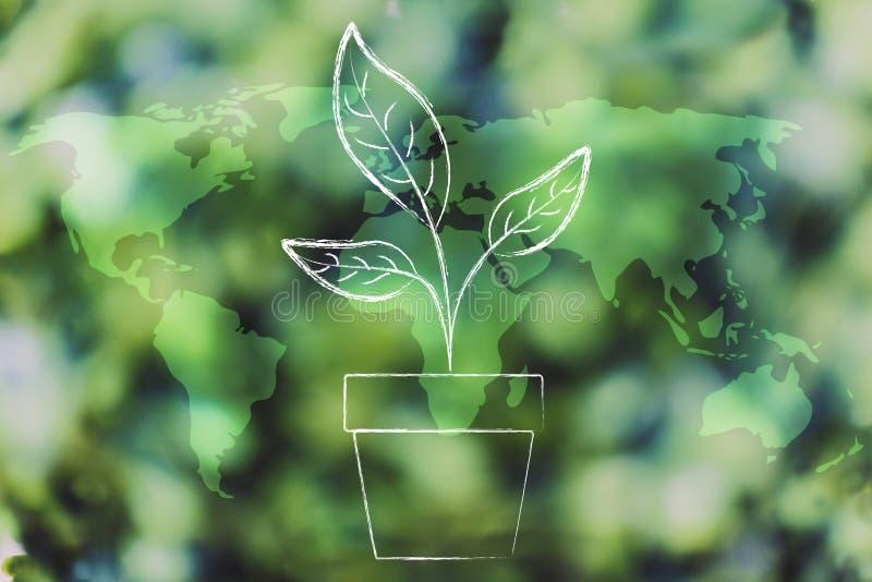 种植在绿色森林bokeh躺在的世界地图的花瓶 库存例证