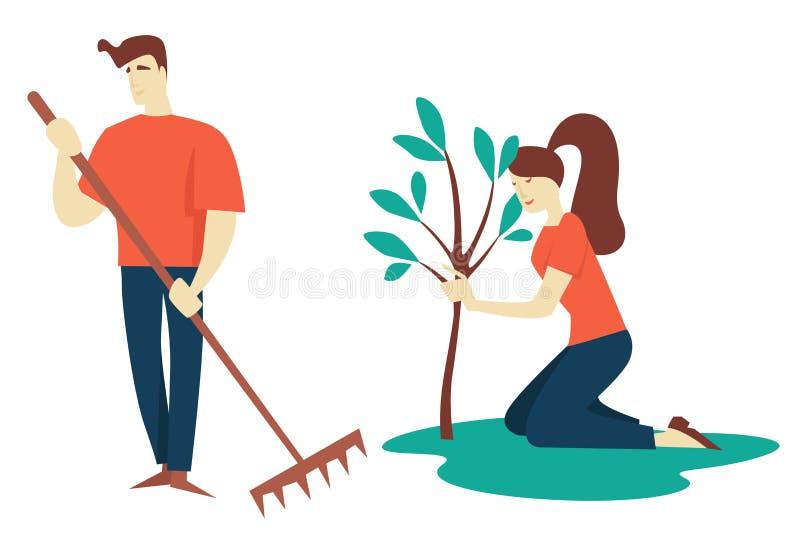 种植树从事园艺的和增长的爱好的男人和妇女 库存例证