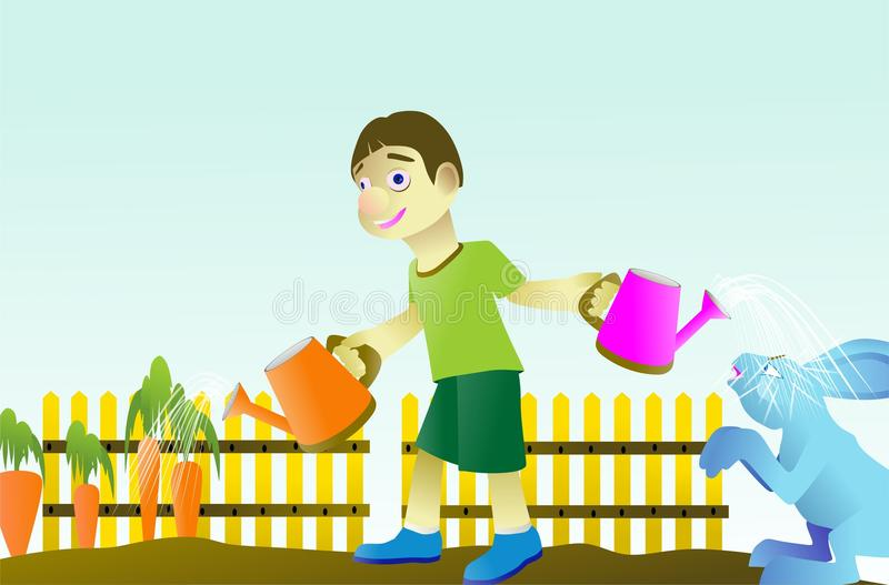 种植红萝卜菜的男孩 库存照片