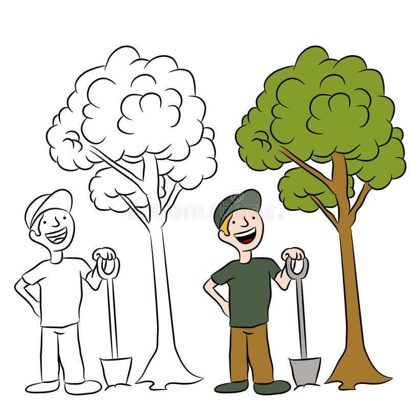 种植结构树的人 向量例证