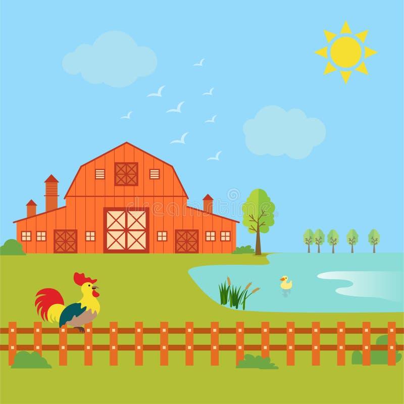 种田与房子、雄鸡和鸭子的概念在湖 库存例证