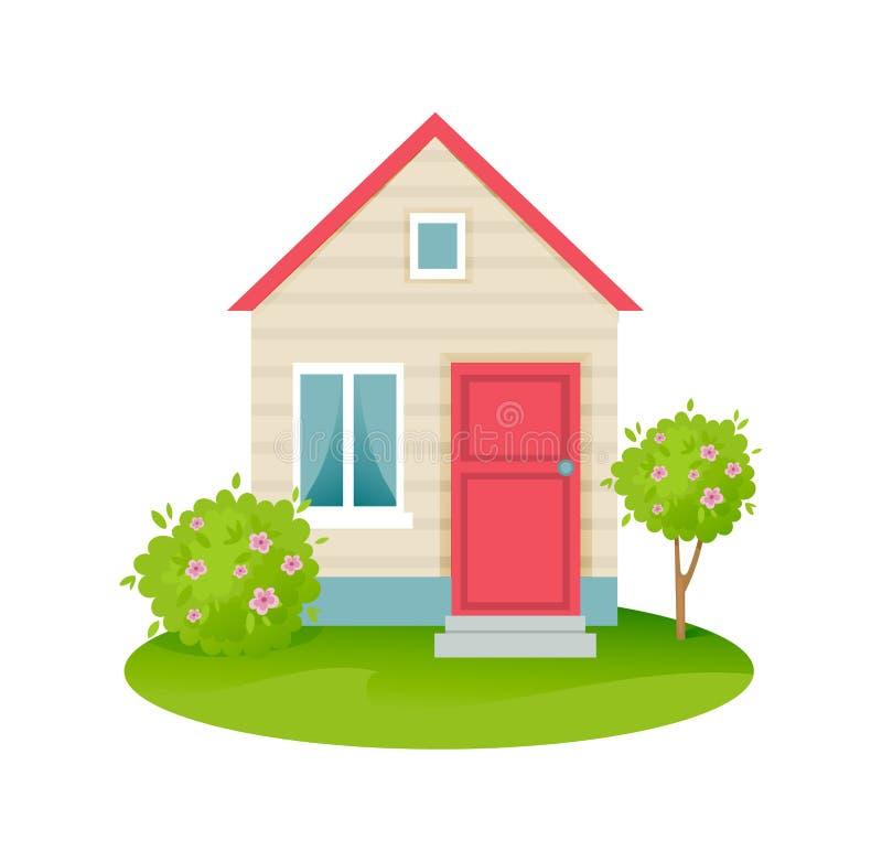 种田与房子,地皮有植被的,果树 向量例证