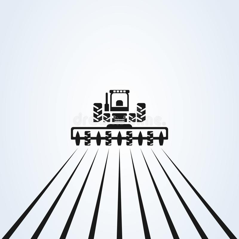 种田与有耕地机和犁的拖拉机,商标设计 E 农厂产业和农学,例证 库存例证