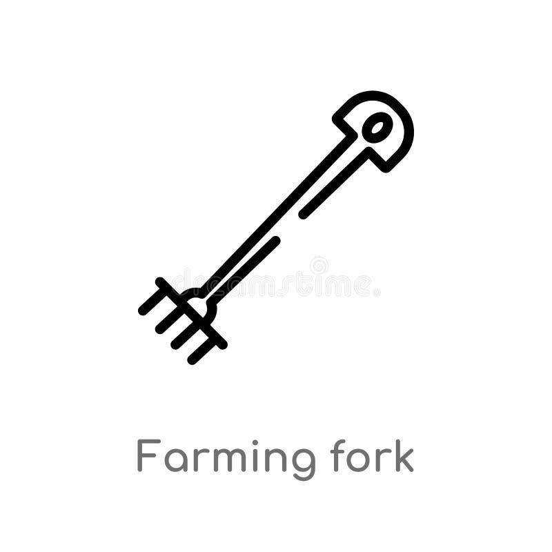 种田叉子传染媒介象的概述 被隔绝的黑简单的从种田概念的农业的线元例证 编辑可能 皇族释放例证