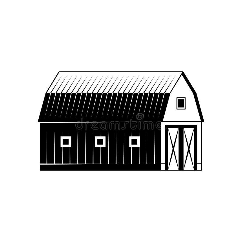种田在白色背景隔绝的谷仓黑白剪影 向量例证