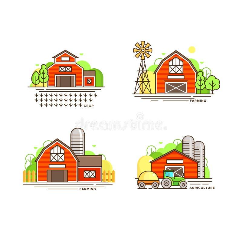 种田在线设计的商标汇集 种田谷仓,农舍,在白色隔绝的风车传染媒介平的例证 皇族释放例证