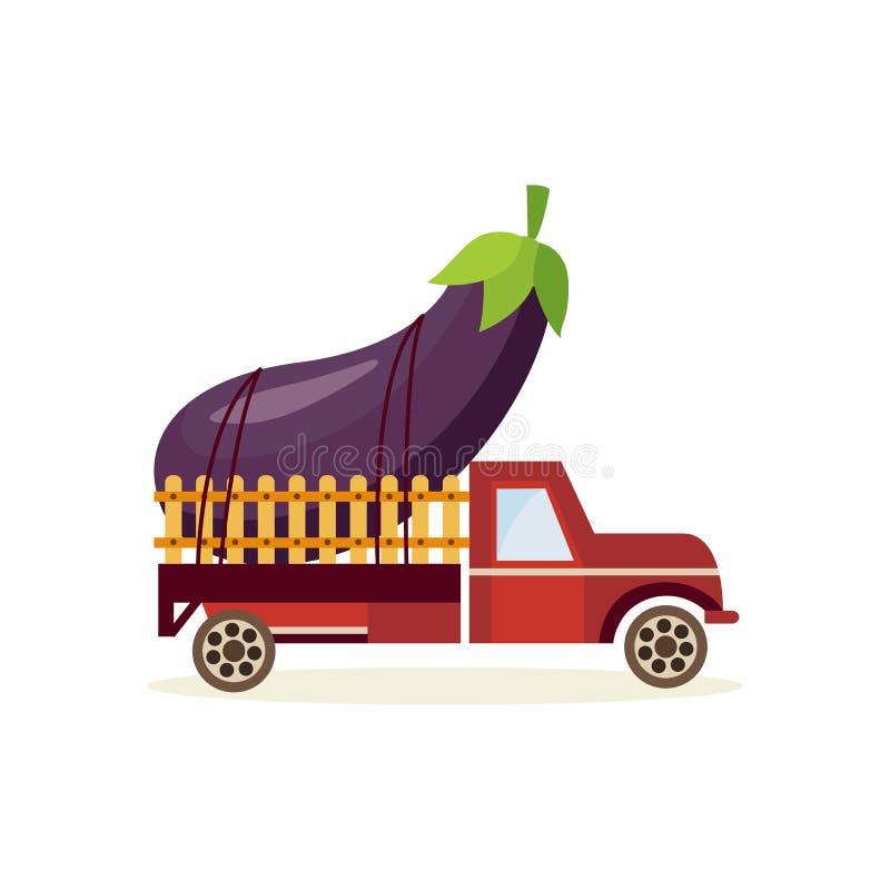 种田庄稼概念用在被隔绝的卡车汽车之后的大成熟茄子 在空白背景 皇族释放例证