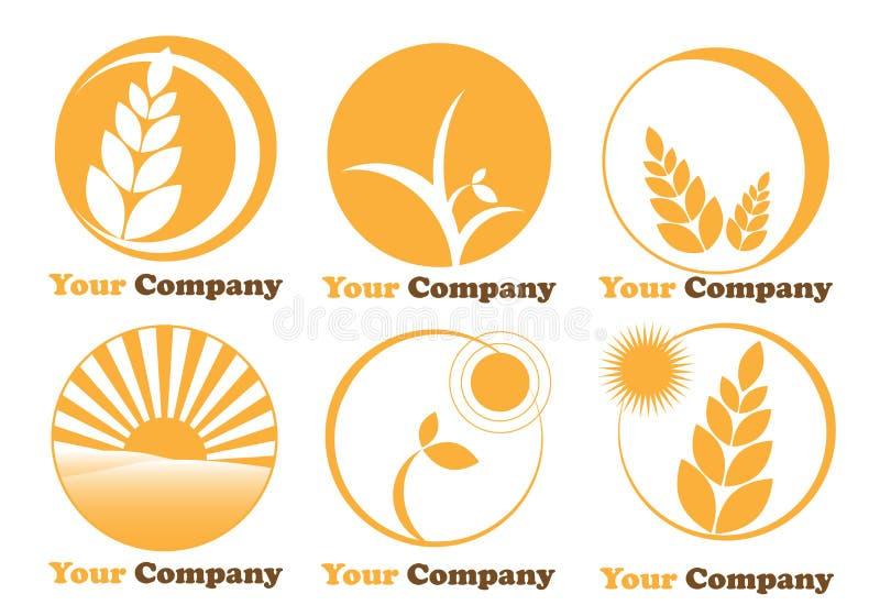 种田徽标的农业设置了六 库存例证