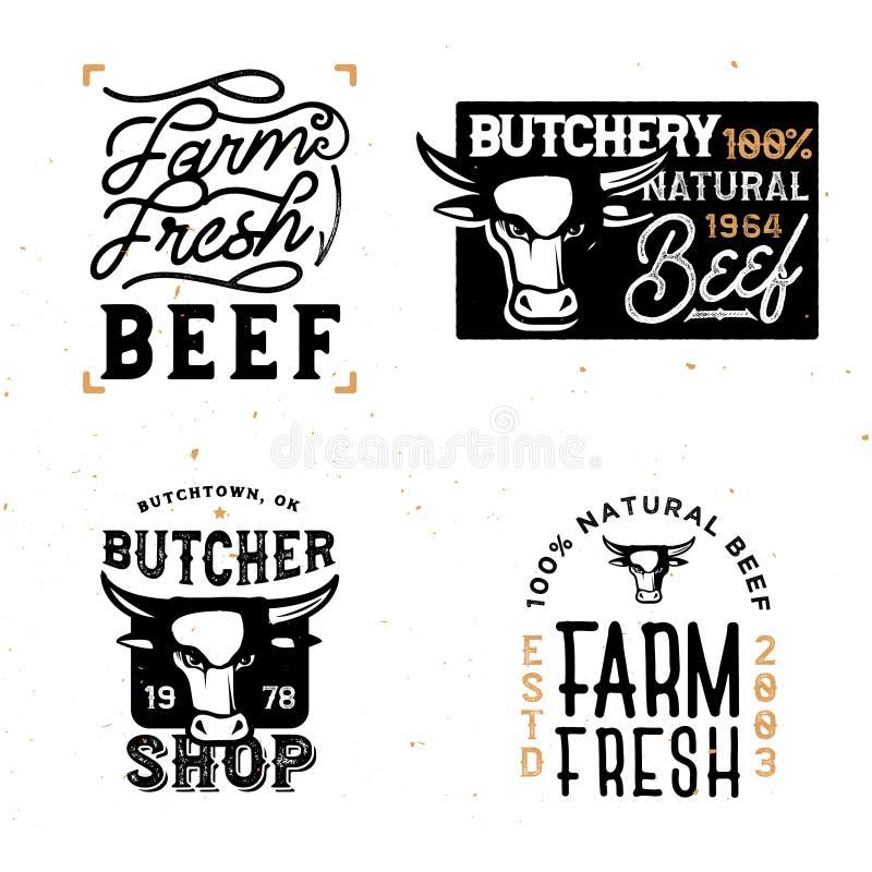 种田新牛肉徽章和商标在葡萄酒 库存例证