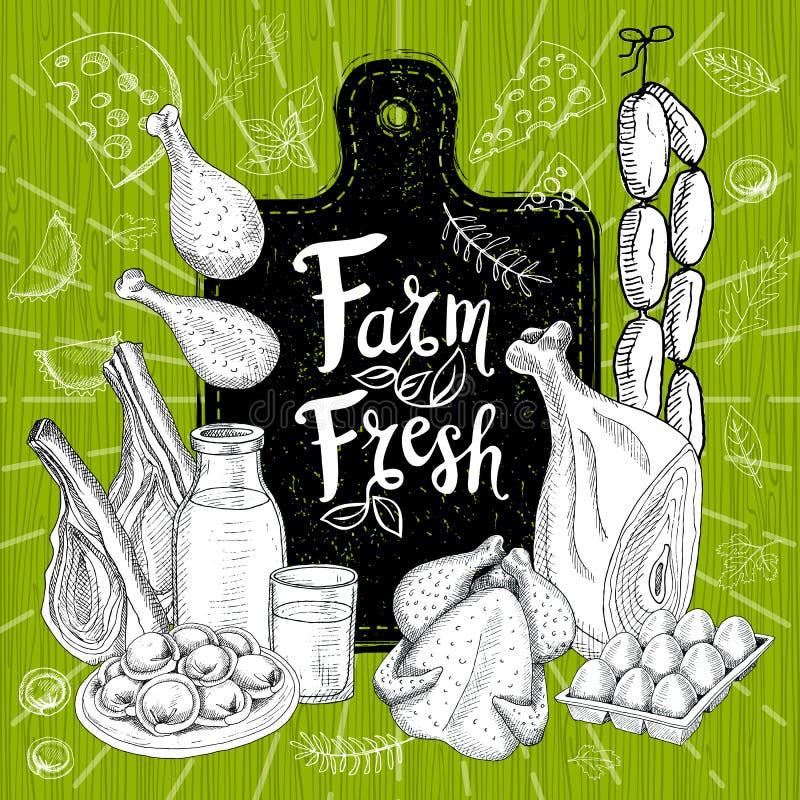 种田新鲜市场,商标设计,健康食物店 有机食品集合 好营养 向量例证