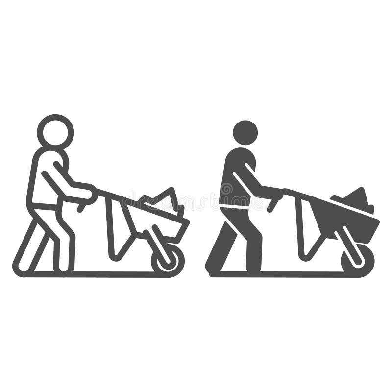 种田有推车线和纵的沟纹象的人 有庭院台车在白色隔绝的传染媒介例证的人 花匠 皇族释放例证