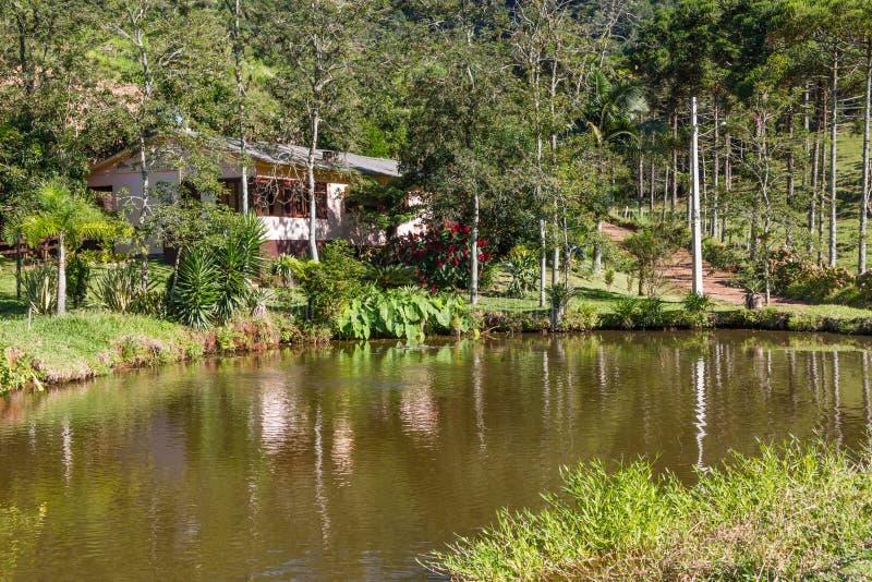 种田有湖、路和森林的房子 库存照片