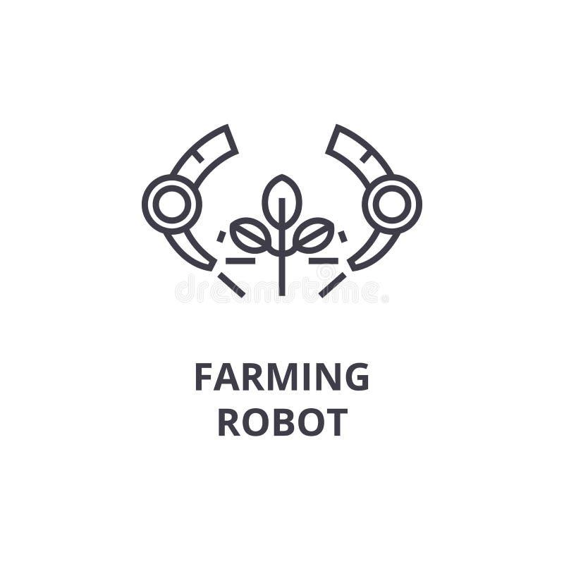 种田机器人排行象,概述标志,线性标志,传染媒介,平的例证 向量例证