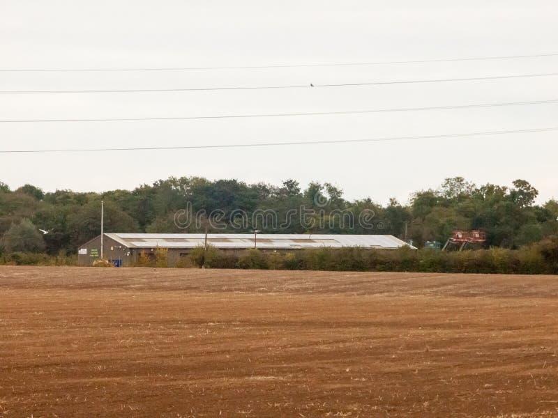 种田被耕的产业的英国棕色农田阴云密布天鸟 库存照片