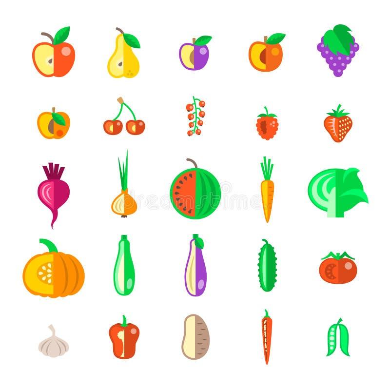 种田被设置的水果和蔬菜平的传染媒介象 皇族释放例证