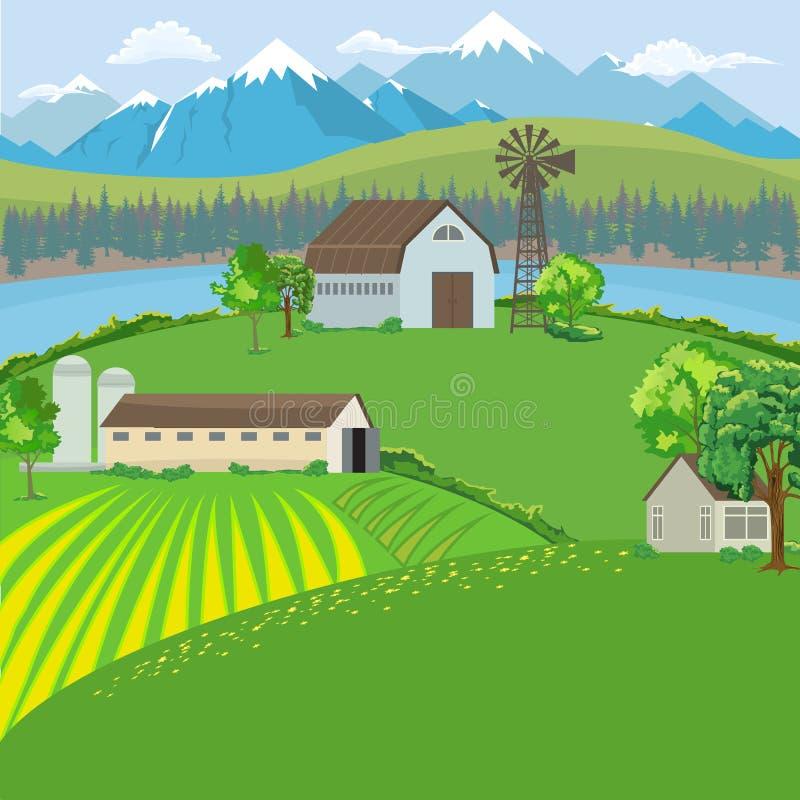 种田风景有农厂房子、风车和山背景 平的颜色样式传染媒介 皇族释放例证