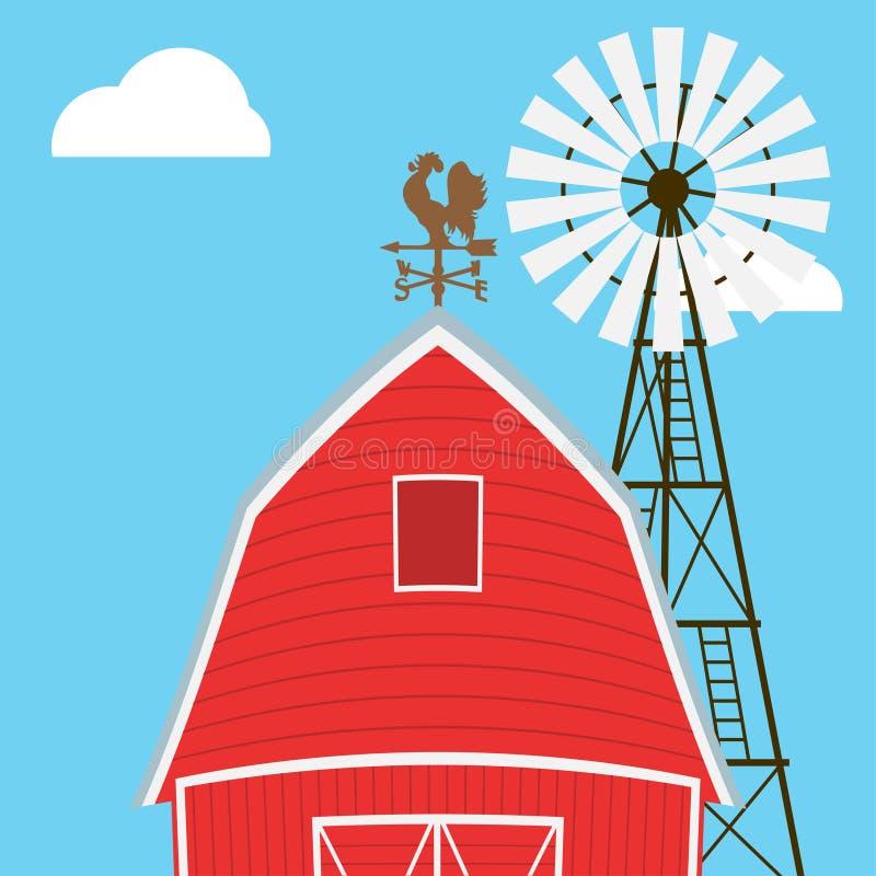 种田风车,谷仓,篱芭,房子 库存例证