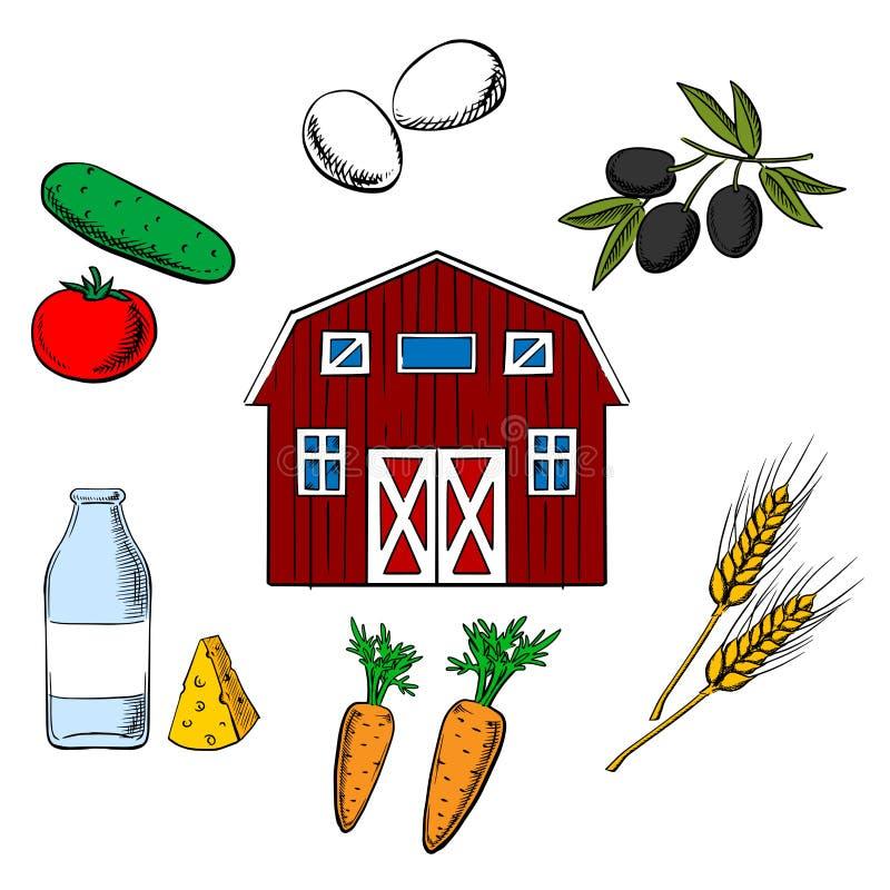 种田食物和农业对象 向量例证