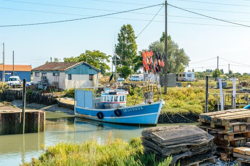 种田Ile的d Oleron的牡蛎站点 免版税图库摄影