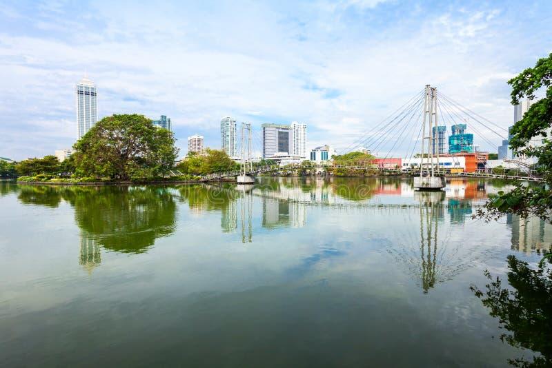 科伦坡市地平线视图 免版税库存图片