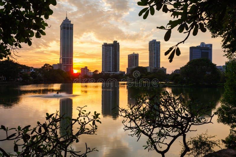 科伦坡市地平线视图 库存照片