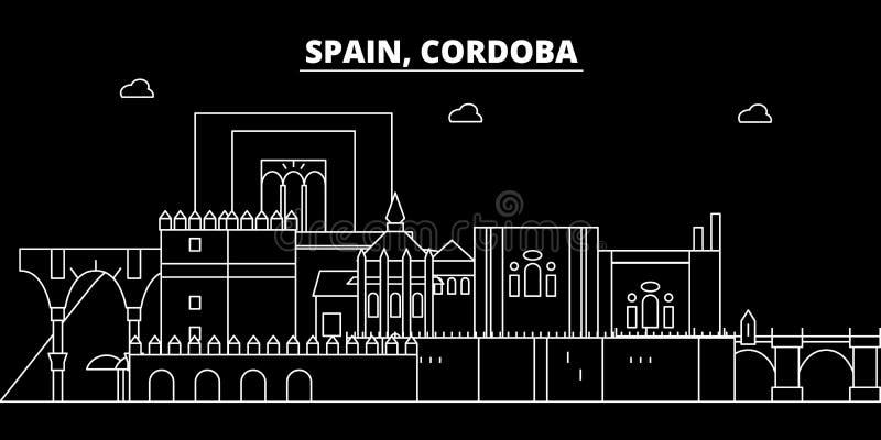 科多巴剪影地平线 西班牙-科多巴传染媒介城市,西班牙线性建筑学,大厦 科多巴旅行 库存例证
