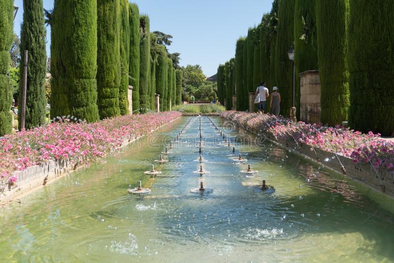 科多巴安达卢西亚,西班牙真正的城堡的庭院  库存照片