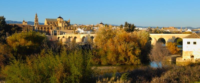 科多巴清真寺和罗马桥梁 图库摄影