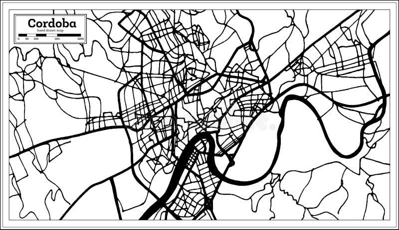 科多巴西班牙在减速火箭的样式的市地图 黑白向量例证 库存例证