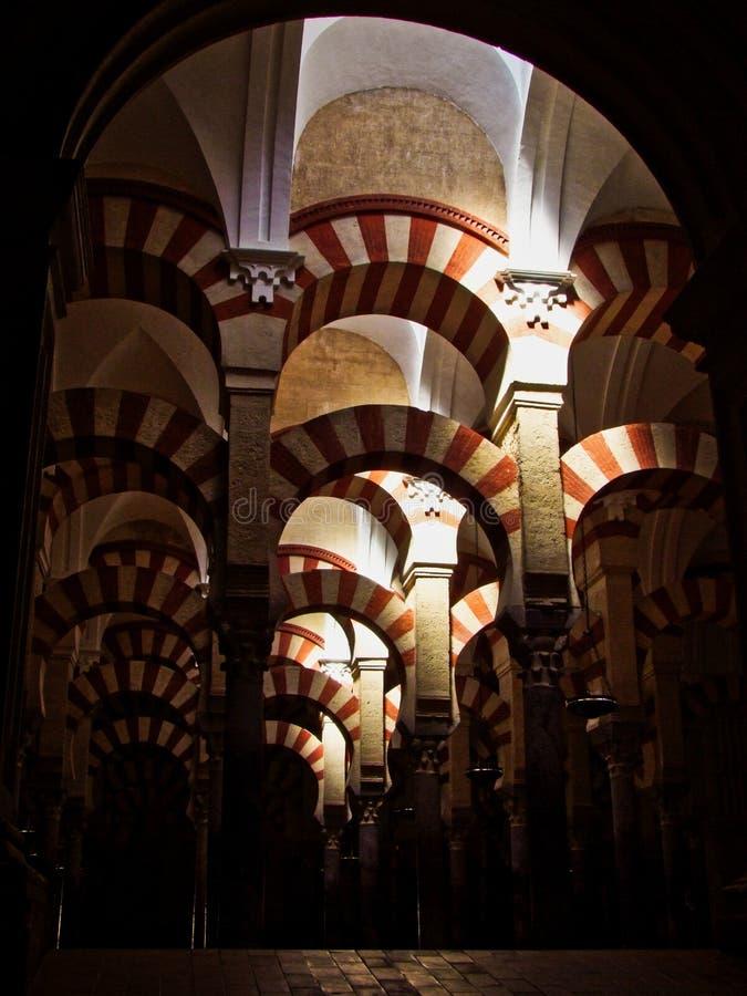 科多巴西班牙清真寺的曲拱  库存图片