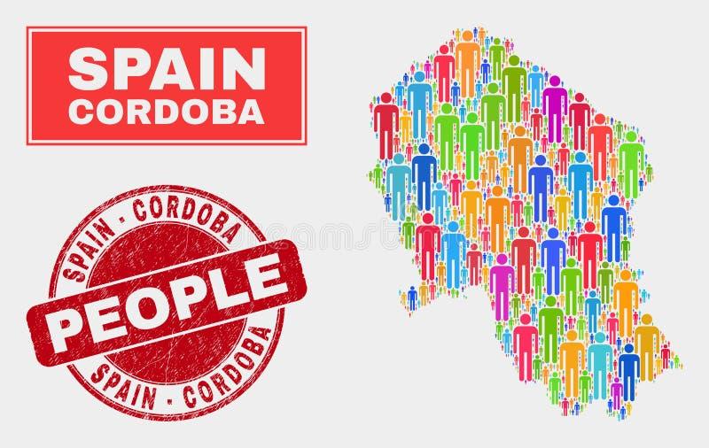 科多巴西班牙省地图人口人民和脏的封印 皇族释放例证