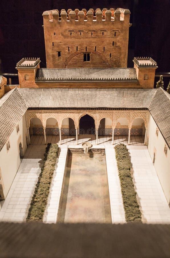 科多巴,西班牙- 2018年,9月8日:阿尔罕布拉大厦比例模型 卡拉奥拉塔博物馆,科多巴,西班牙 宫殿  免版税图库摄影