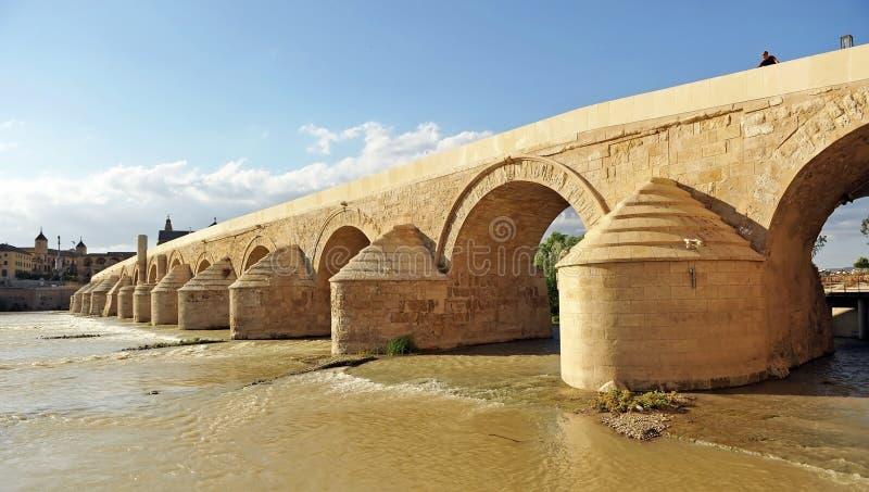 科多巴-清真寺罗马桥梁有大教堂的在背景,安大路西亚,西班牙中 库存照片