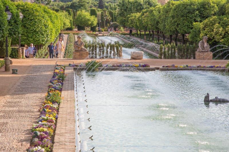 科多巴-宫殿Alcazar de los雷耶斯Cristianos庭院  库存照片