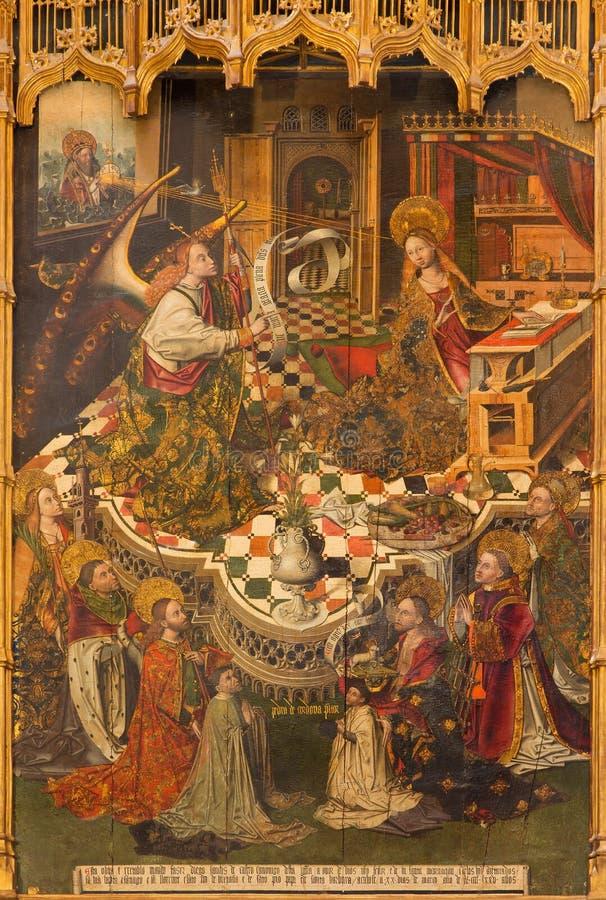 科多巴-通告中世纪油漆地亚哥桑切斯在大教堂的旁边法坛的de卡斯特罗(1463) 库存照片
