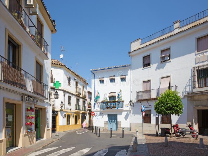 科多巴,西班牙- 2015年5月26日:小的典型的方形的广场de圣佩德罗火山 库存照片