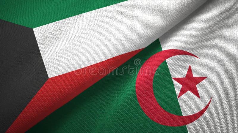 科威特和阿尔及利亚两旗子纺织品布料,织品纹理 向量例证